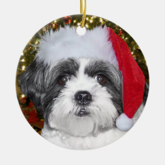 Perro de Shih Tzu del navidad Adorno Navideño Redondo De Cerámica