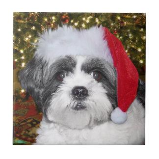 Perro de Shih Tzu del navidad Azulejo Cuadrado Pequeño