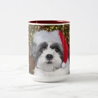 Perro de Shih Tzu del navidad Taza De Café De Dos Colores