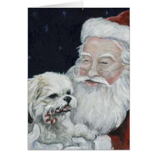Perro de Shihtzu/Bichon y tarjeta de nota