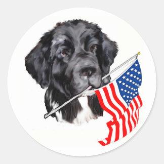 Perro de Terranova con la bandera Pegatina Redonda