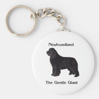 Perro de Terranova el gigante apacible Llavero Redondo Tipo Pin