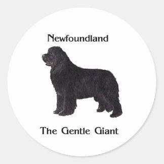 Perro de Terranova el gigante apacible Pegatina Redonda