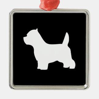 Perro de Terrier blanco de montaña del oeste, Adorno Navideño Cuadrado De Metal