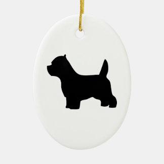 Perro de Terrier blanco de montaña del oeste, Adorno Navideño Ovalado De Cerámica