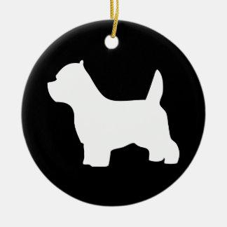 Perro de Terrier blanco de montaña del oeste, Adorno Navideño Redondo De Cerámica