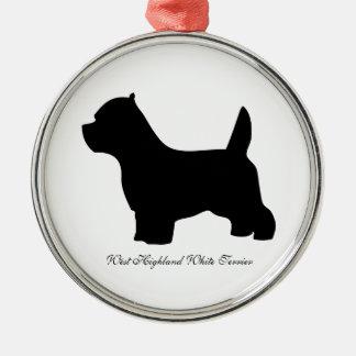 Perro de Terrier blanco de montaña del oeste, Adorno Navideño Redondo De Metal