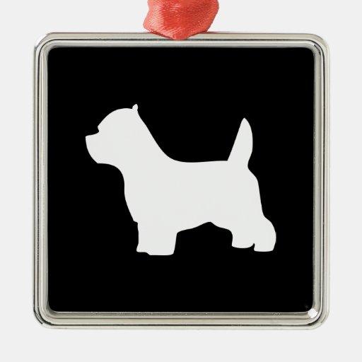 Perro de Terrier blanco de montaña del oeste, silu Adorno De Navidad