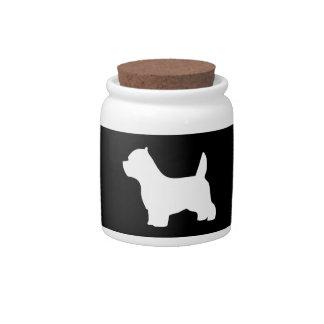 Perro de Terrier blanco de montaña del oeste, silu Platos Para Caramelos