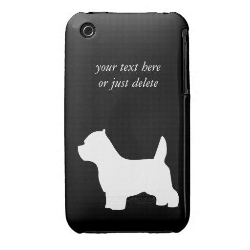 Perro de Terrier blanco de montaña del oeste, silu iPhone 3 Cárcasa