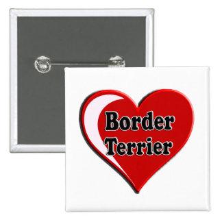 Perro de Terrier de frontera en el corazón para lo Pins