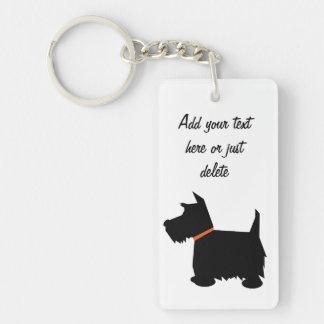 Perro de Terrier del escocés, personalizado de la  Llavero Rectangular Acrílico A Doble Cara