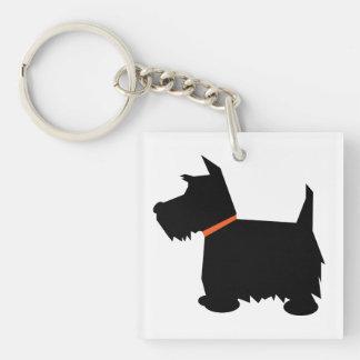Perro de Terrier del escocés, silueta negra del es Llavero Cuadrado Acrílico A Doble Cara