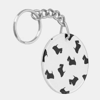 Perro de Terrier del escocés, silueta negra del es Llavero Redondo Acrílico A Doble Cara