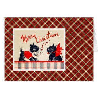 Perro de Terrier del navidad del vintage Tarjeta De Felicitación