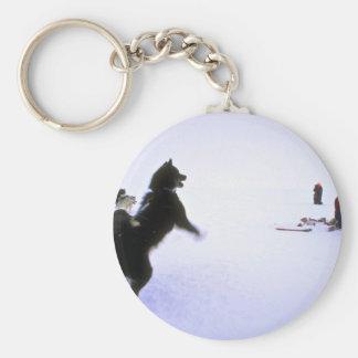 Perro de trineo emocionado llavero personalizado