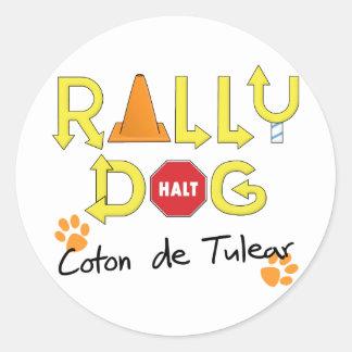 Perro de Tulear Rally del algodón Pegatina Redonda