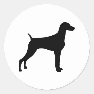 Perro de Weimaraner (en negro) Pegatina Redonda