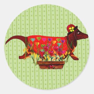 Perro de Weiner de la tarjeta del día de San Etiquetas Redondas