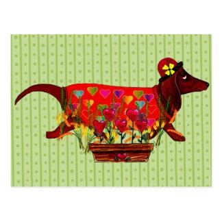 Perro de Weiner de la tarjeta del día de San Postal