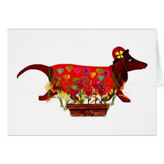 Perro de Weiner de la tarjeta del día de San Valen
