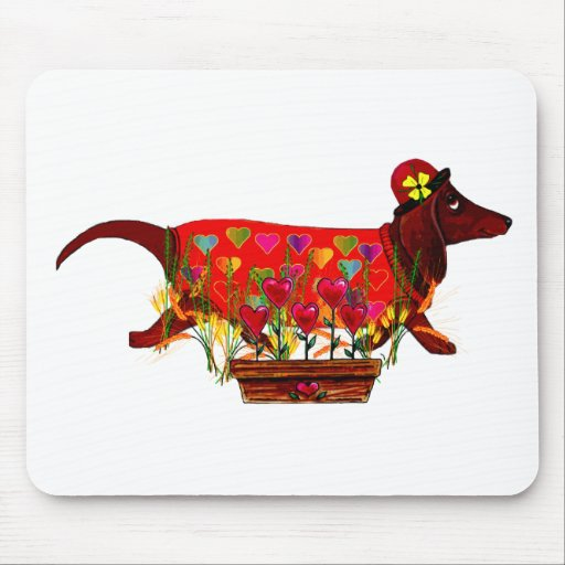 Perro de Weiner de la tarjeta del día de San Valen Tapetes De Ratón