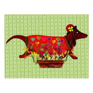 Perro de Weiner de la tarjeta del día de San Valen Tarjetas Postales