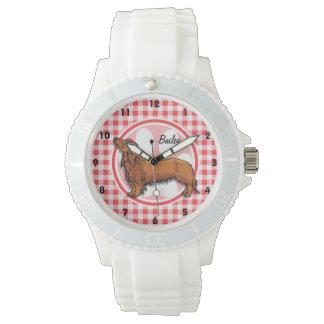 Perro de Weiner; Guinga roja y blanca Relojes De Mano