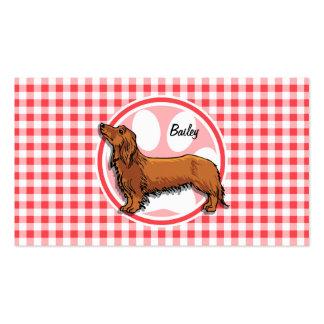 Perro de Weiner; Guinga roja y blanca Tarjetas De Visita