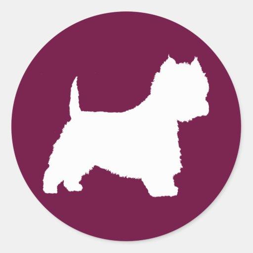 Perro de Westie (blanco) Pegatinas Redondas