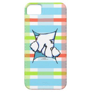 Perro de Westie dentro de la tela escocesa iPhone 5 Carcasas