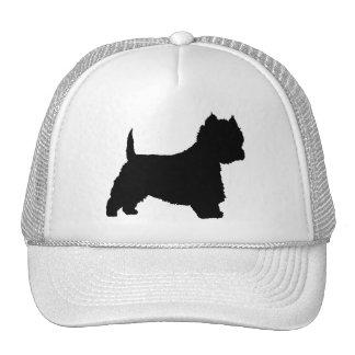Perro de Westie (negro) Gorras De Camionero