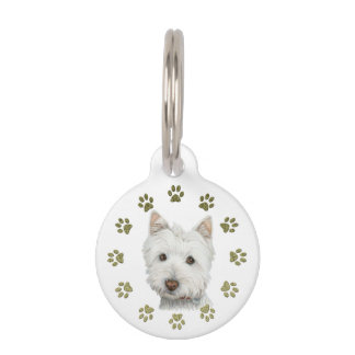Perro de Westie y placa de identificación lindos Identificador Para Mascota