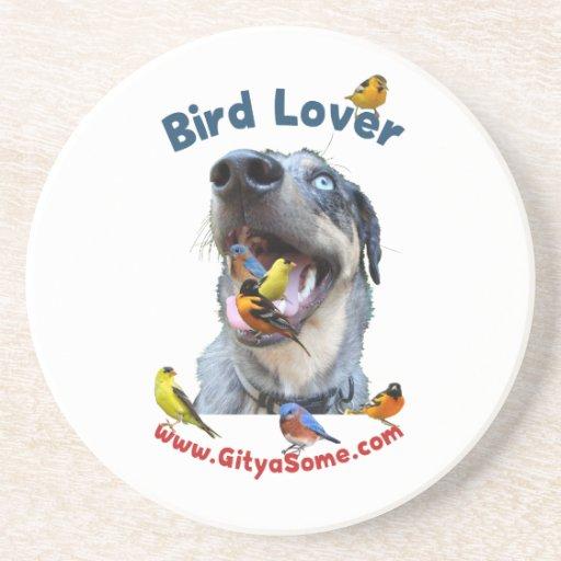 Perro del amante del pájaro posavasos diseño