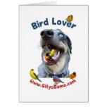 Perro del amante del pájaro tarjeta