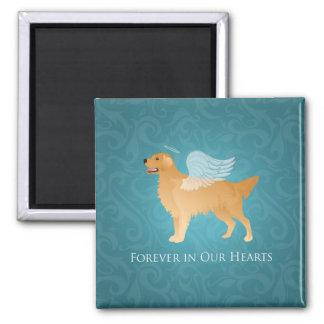 Perro del ángel del golden retriever - monumento imán cuadrado