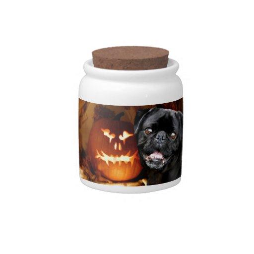 Perro del barro amasado de Halloween Platos Para Caramelos