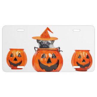 Perro del barro amasado de Halloween Placa De Matrícula
