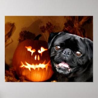 Perro del barro amasado de Halloween Póster