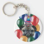 Perro del barro amasado del feliz cumpleaños llaveros personalizados