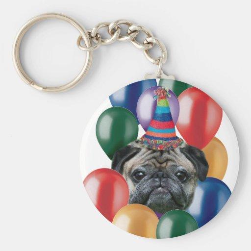 Perro del barro amasado del feliz cumpleaños llavero redondo tipo pin