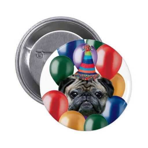 Perro del barro amasado del feliz cumpleaños pins