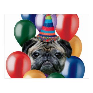 Perro del barro amasado del feliz cumpleaños postal