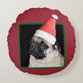 Perro del barro amasado del navidad cojín redondo
