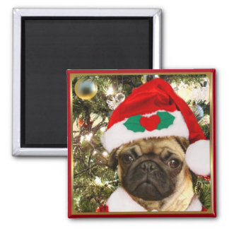 Perro del barro amasado del navidad imán cuadrado