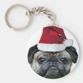 Perro del barro amasado del navidad llavero redondo tipo pin