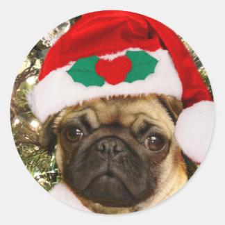 Perro del barro amasado del navidad pegatina redonda