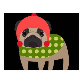 Perro del barro amasado del navidad postal