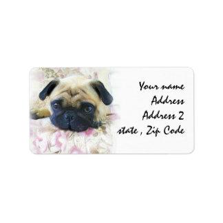 Perro del barro amasado etiqueta de dirección