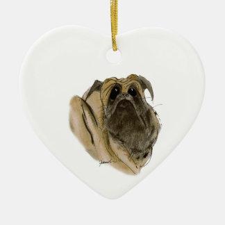 perro del barro amasado, fernandes tony adorno navideño de cerámica en forma de corazón